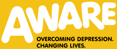Aware logo. Text reads: Aware. Overcoming Depression. Changing lives.