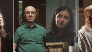 Four stills of people with MS from our Stop MS Appeal TV advert