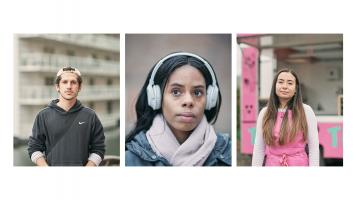 3 portraits left to right Ayad wears a hoodie, Breanne wears headphones and Panida wears a pink top
