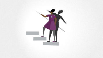 Animation still of Black woman climbing stairs with her shadow falling backwards