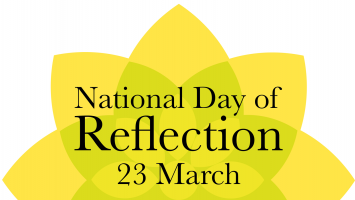 Yellow daffodil with National Day of Reflection 23 March inside it.