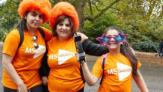 Women and girl taking part in MS Walk