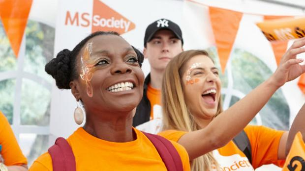 Photo shows a group of MS Society supporters at the start of a fundraising event