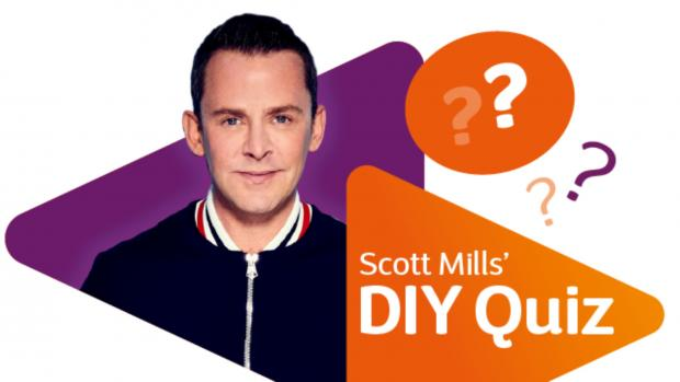 Picture of Scott Mills with orange and purple triangles