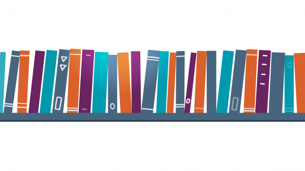 a graphic showing a bookshelf with books on it