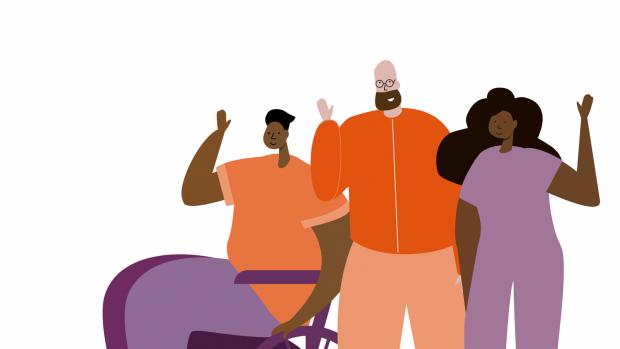 Graphic of three people waving, one man using a wheelchair a man with a beard and a lady all dressed in purple and orange