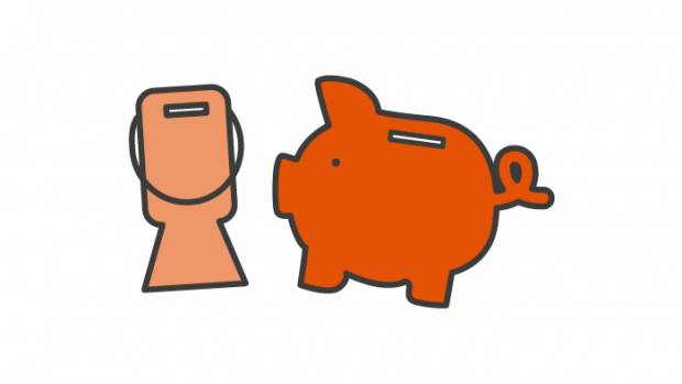Graphic: collecting tin and piggy bank