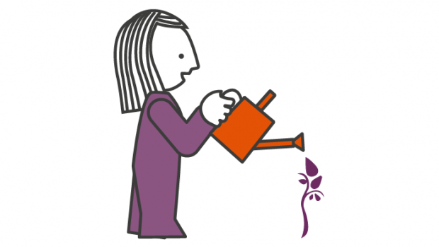 Graphic: lady waters a flower with orange watering can