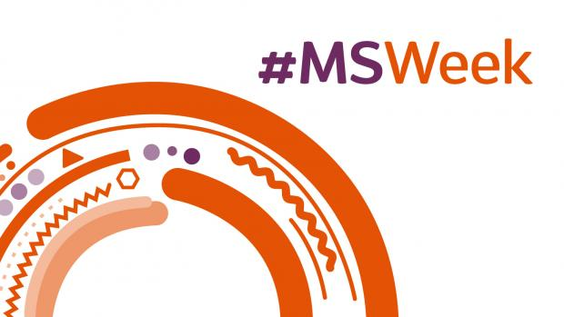 Rainbow made of orange squiggly and solid lines with purple dots and #MSWeek