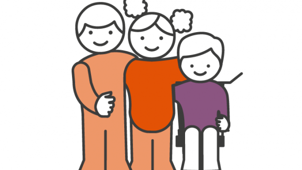 A Support graphic showing a family of three