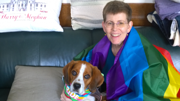 Board of trustees member Susan and her dog