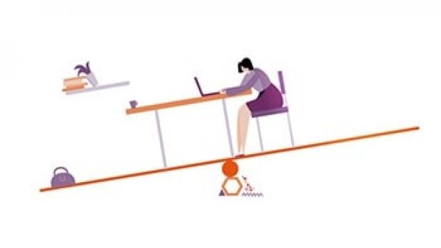 What is MS graphic shows woman sat at a table on a see saw that's tipping to the left