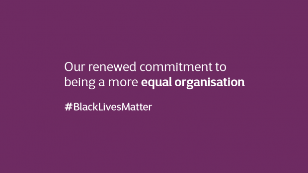 A black lives matter statement and hashtag