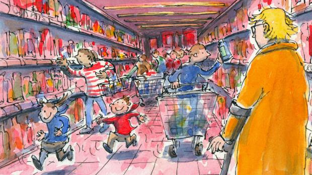 Cartoon shows Anne, using walking aids, in a busy supermarket.