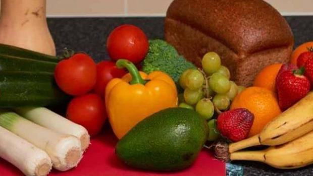 Photo shows a colourful array of fruit and vegetables