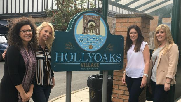 Photo shows Kirsty Grice and three friends standing on the Hollyoaks set.