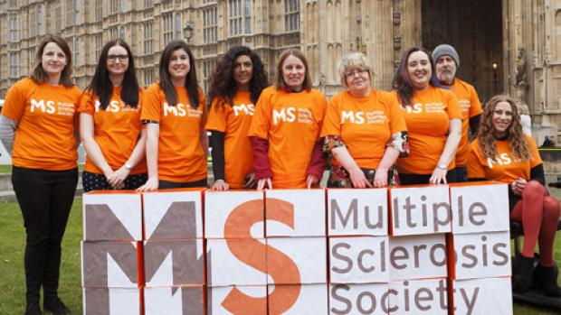 MS Society campaigners outside parliament