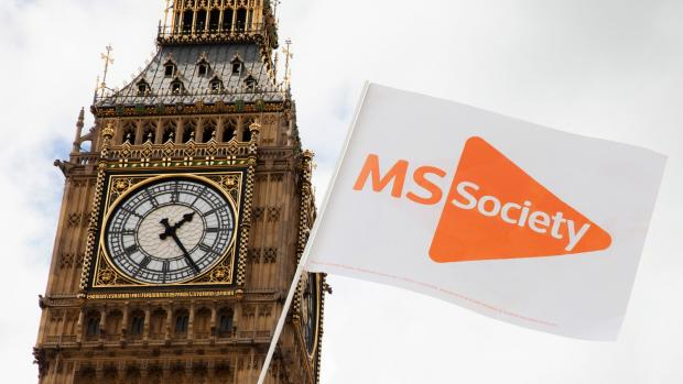 MS Society flag in front of Big Ben
