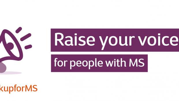 Graphic: megaphone with text saying Raise your voice for people with MS # Speak up for MS