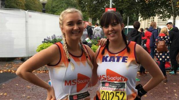 Two women taking part in the Cardiff Half Marathon for the MS Society