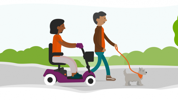 Graphic of a woman using a mobility scooter and a man walking a dog