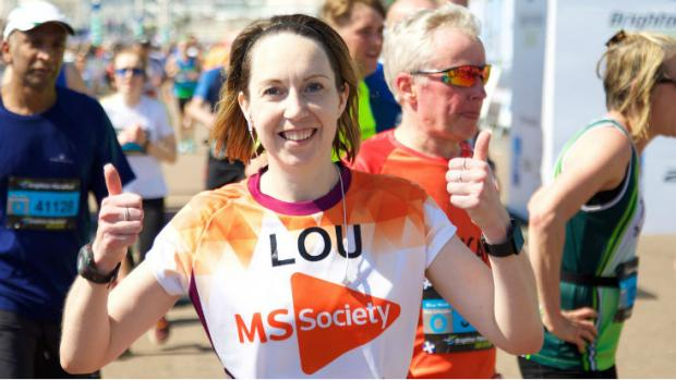 Woman running Brighton Marathon
