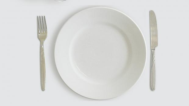 a photo of an empty plate with knife and fork