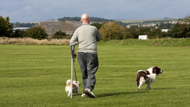 Man using a crutch while walking dogs