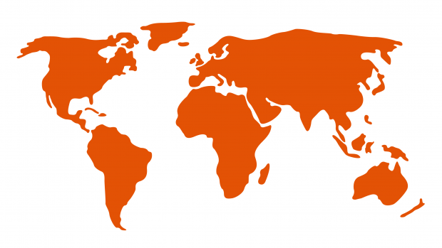 Image: a stylised map of the world with land in orange