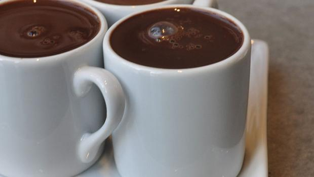 image shows mugs of hot chocolate