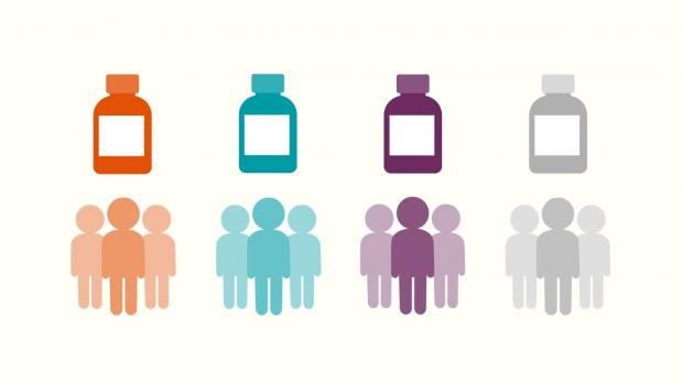 Graphic showing 4 different coloured medicine bottles and 4 groups of people