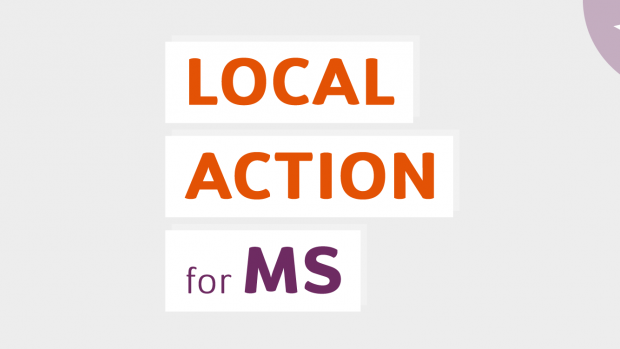 Graphic of a megaphone and placard. Text reads: Local actions for MS