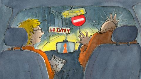 Cartoon shows Anne and her husband driving up to a no entry sign.