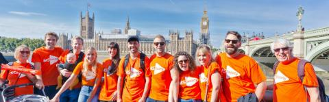 MS Walk fundrasing team on the Southbank in London