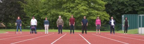 Pip web banner - people on athletic track