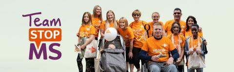 Team Stop MS people wearing MS Society t-shirts