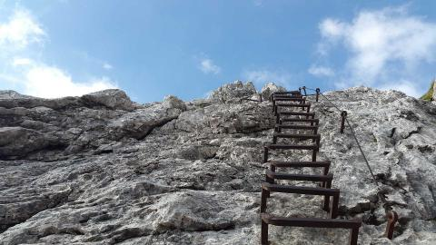 Steps leading up a steep mountain
