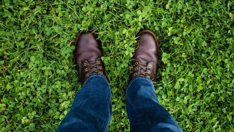 Close up of feet in brown shoes on grass