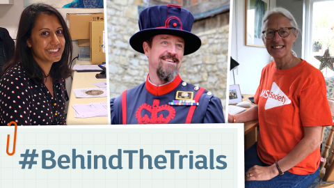 Image shows 3 people. Anisha, sitting at her desk at work. Andy, dressed as a beefeater, and Jacqueline, sitting at her desk at home. They are linked by text saying hashtag behind the trials, presented to look like piece of paper clipped on with a paperclip.