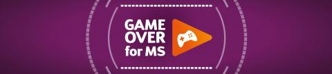 Graphic of a gamepad in an orange triangle on a purple background. Text reads: Game Over for MS