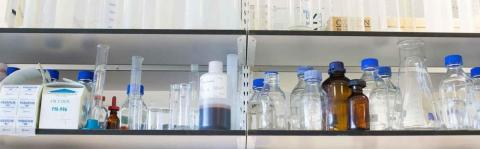 Photo: Lab equipment on a shelf