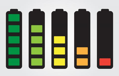 A graphic showing fully charged and lesser charged batteries