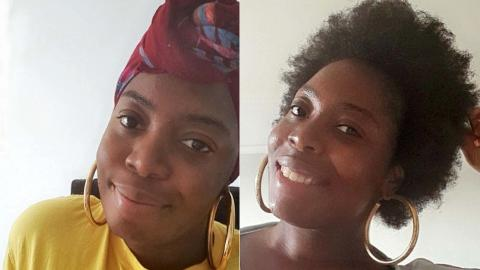 Screen is split in two Elisha on the left wears a yellow top and headscarf, Elisha on the right wears large gold hoop earrings with her natural hair fluffed up