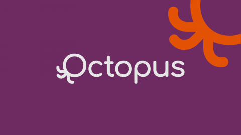 Octopus written in white against a purple background, with orange octopus logo